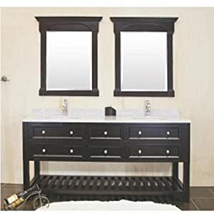 Amazon Com Double Sink Bathroom Vanity 60 Inches Solid Wood Cabinet With Bottom Shelf Granite