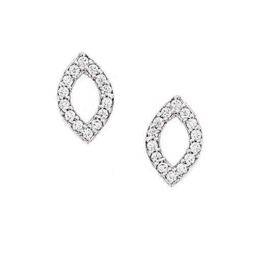 Kiera Couture Marquise Cut Stud Earrings, 0.26 Carats Cubic Zirconia, Platinum Plated Sterling ()