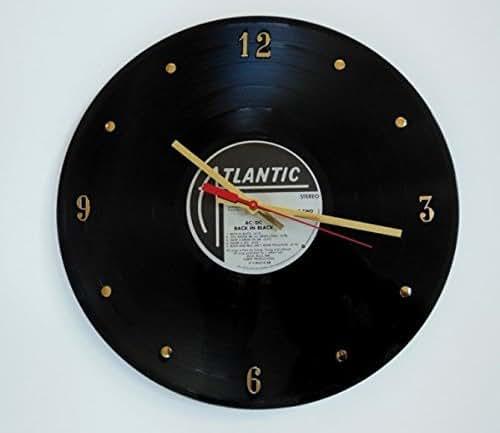 "AC/DC Vinyl Record Clock (Back In Black). Handmade 12"" wall clock created using the original AC/DC record."