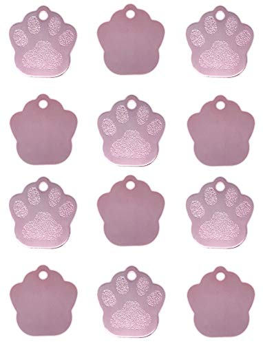(TheAwristocrat 12 Pack Blank Pet ID Tags for Dogs & Cats Wholesale - Select from a Variety of Shapes & Colors (Pink, Paw))