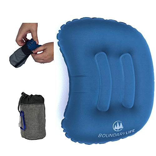 Boundary Life Inflatable Camping Pillow | Compressible Hiking and Backpacking Pillow | Blow Up Traveling Pillow | Lumbar Support for Airplane or Car | Travel Air Pillows