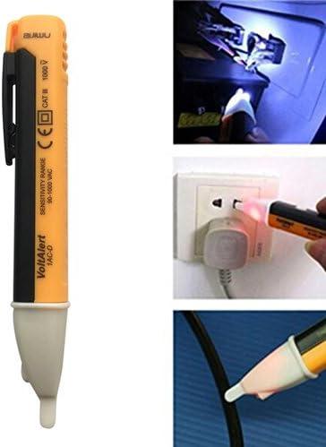 12 NAL sin contacto Bol/ígrafo de prueba de voltaje 1000 V AC detector de voltaje Pen Circuit Tester herramienta con linterna LED Beeper Pocket Clip-Orange