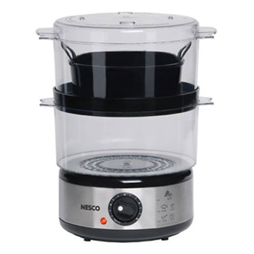 Nesco ST-25F Food Steamer, 5-Quart, Black/Clear