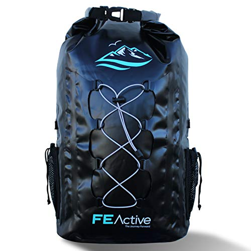 (FE Active - 30L Eco Friendly Waterproof Dry Bag Backpack Great for All Outdoor and Water Related Activities. Padded Shoulder Straps, Corded Exterior and Mesh Netting for Increased Carrying Capacity)