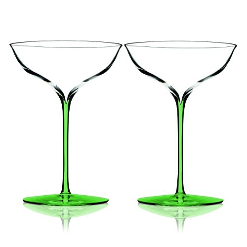 Light Green Waterford Elegance Champagne Belle Coupe Glasses 8 oz. - Set of 2 - Additional Vibrant Colors Available by TableTop King