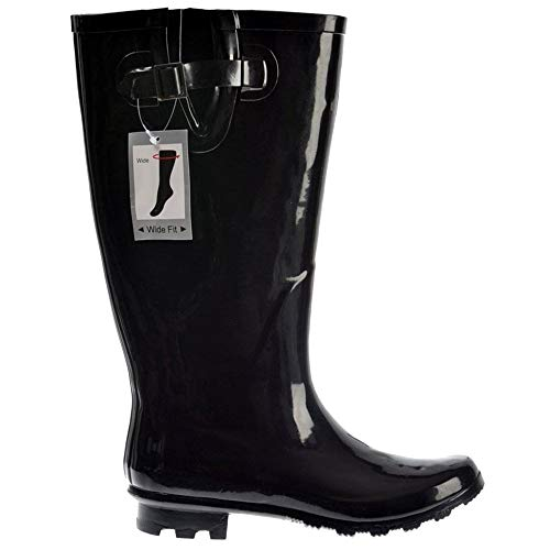 20bfbd30db15f Onlineshoe Women's Flat Wide Calf Wellie Wellington Festival Rain Boots -  Assorted Colours UK8 - EU41 - US10 - AU9