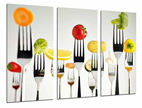Cuadro Fotografico Cocina Restaurante, Tenedores Fruta Verdura, Multicolor Tamano total 97 x 62 cm XXL