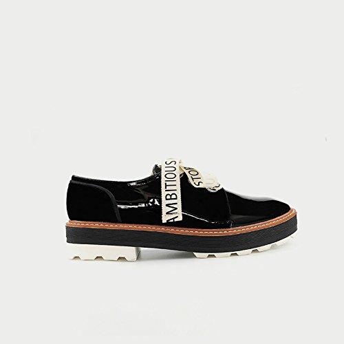 GAOLIM Impresión De Primavera Zapatos Derby De Pintura Gruesa Tira Femenino Bizcocho Solo Zapatos Estudiantes Negro