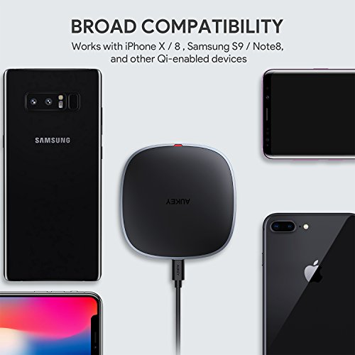 AUKEY Wireless Charger Qi-enabled, Ultra Slim, Crafted with Style Wireless Charging Pad for iPhone X/8/Plus, Samsung Galaxy S9/S9+/S8/S8+/S7 and Other Qi Compatible Devices by AUKEY (Image #1)