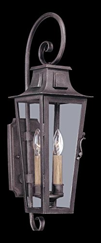 Two Light Aged Pewter Wall Lantern (Aged Pewter Two Light)