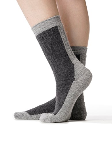 Invisible World Luxury Alpaca Blend Cushioned Boot Socks Two Tone Charcoal S - World Of Luxury