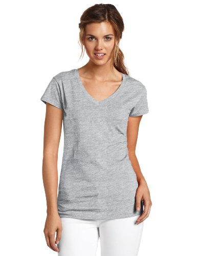 - Dickies Girl Juniors Short Sleeve V-Neck Tee,Heather Grey,Xlarge