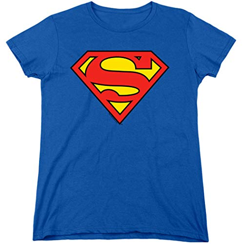 Women's Superman Classic Logo T Shirt & Exclusive Stickers (XX-Large)]()