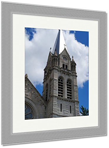 Ashley Framed Prints Belfry Saint Joseph Catholic Church Joliet Illinois Against, Wall Art Home Decoration, Color, 40x34 (frame size), Silver Frame, AG5591776 by Ashley Framed Prints