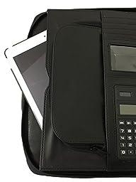 Maxdala Leatherette 3-RING BINDER FOLDER PORTFOLIO ORGANIZER PLANNER w/ BRIEFCASE SMART HANDLE, File Holder Cabinet Divider Luggage Brief (Free Return)