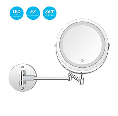 JZ Wall Mirror Folding Vanity Lamp Retractable 360 Rotating Function Beauty Mirror with 1x/5x Magnification Round Shaped Double-Sided LED Compatible USB Charging 7 in ()