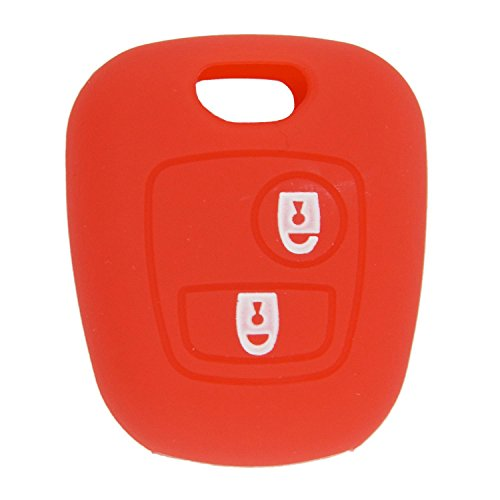 Toogoo 2 Button Silicone Key Fob Ca Cover For Peugeot 307 107 207 405 Citroen C3 Saxo, Red