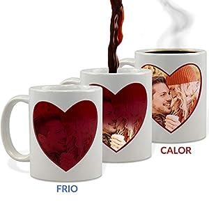 Taza Mágica Enamorados Personalizada con tu Foto/Diseño/Texto/Nombre | Regalo Enamorados | Cerámica | Varios Diseños a Elegir | Corazón Rojo 2