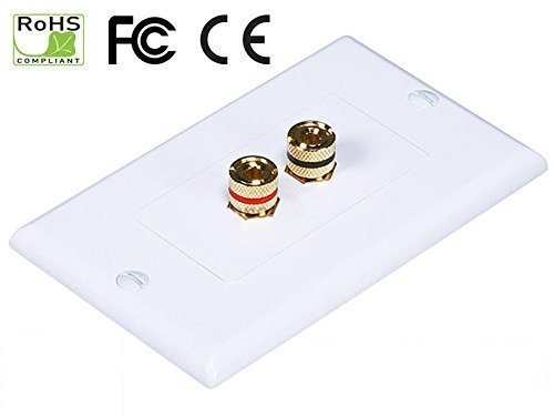 iMBAPrice 2 Coupler Type Connectors Banana Plug Binding Post Wall Plate for 1 Speakers (Plate Wall Coupler)