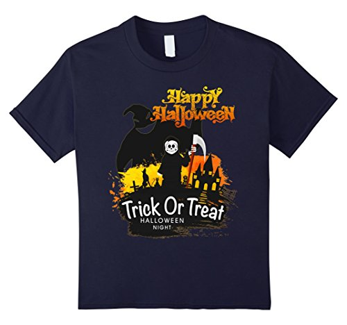 Oogie Boogie Boys Costume (Kids Trick Or Treat Happy Halloween T-Shirt, Funny Birthday Gifts 12 Navy)