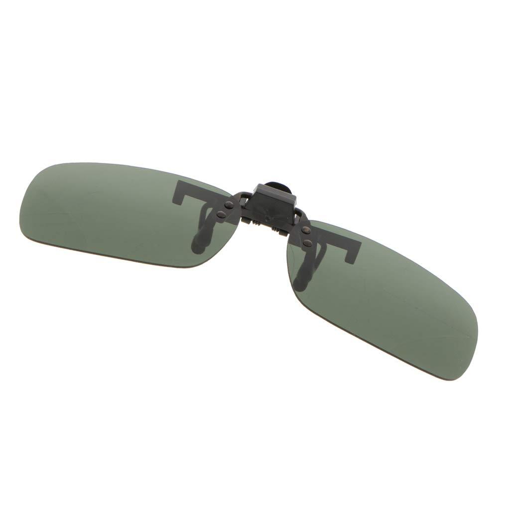 B Blesiya Clip on Sunglasses Flip Up Polarized Anti-Blue Ray Glare Eyeglass Frameless Rectangle Lens UV400 for Driving Fishing Cycling Walking Outdoor Yellow