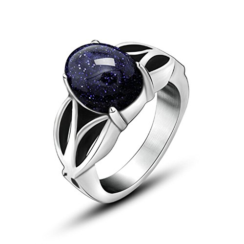 Beydodo Stainless Steel Rings for Mens Biker Ring Bands Ring With Blue Stone Rings Punk Wedding Size 6