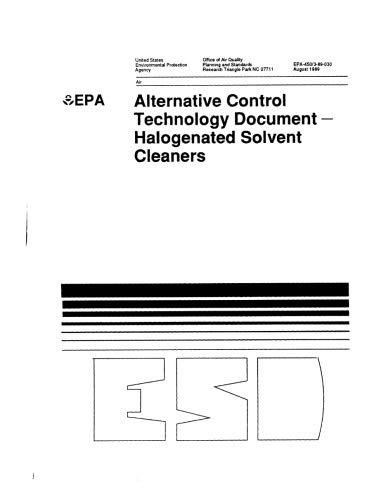Control Document (Alternative Control Technology Document  Halogenated Solvent Cleaners)