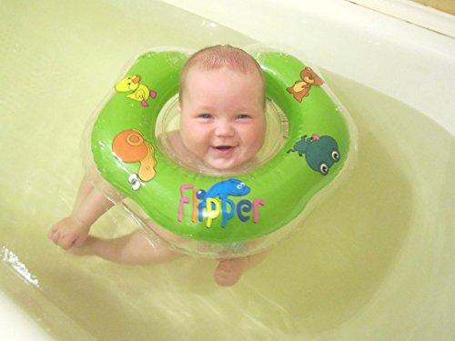 Schwimmring Flipper Schwimmreifen für den Hals Schwimmhilfe (Grün)