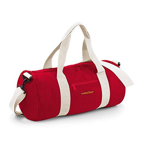Kleine Reisetasche / Sporttasche / Gepäcktasche: Tasche -- Goodman Logo sportliche Reisetasche Farbe: rot