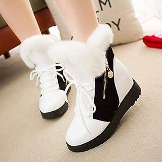 BNXXINGMU Scarponi da Neve da Donna Plush Warm Zipper Decoration Flat with Female Boots Aumento di Cotone Shoes Booties Casual Bianco 8.5