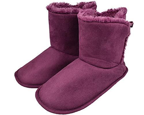 Women's Fuzzy Fur Warm Booties with Soft Memory Foam Indoor Outdoor Slippers US 7-8 Purple ()