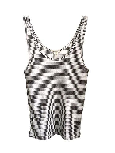 Knit Pattern Top Tank (ROOLOLY Women's Scoop Neck Striped Racerback Tank Top(White/Black,L))