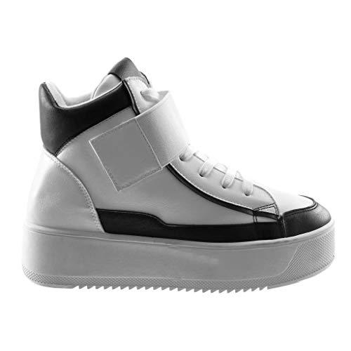 Zeppa Moda 4 Angkorly Sneaker Chic Strappo Donna Scarpe materiale 5 Bicolore Cm Sporty Bianco Tacco Zeppe Bi Piattaforma Swwqr7g65