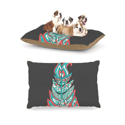 Kess InHouse Pom Graphic Design ''A Romantic Feather'' Red Teal Dog Bed by Kess InHouse