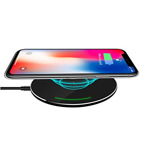 Wireless Charger, JUHOT Ultra Slim Wireless Charger for iPhone Xs/XS MAX/XR/X/8/8Plus(7.5W),and 10W Fast Wireless Charger for Samsung Galaxy S9/S9Plus/S8/S8Plus/S7/S7Edge S6 Edge (No AC Adapter)