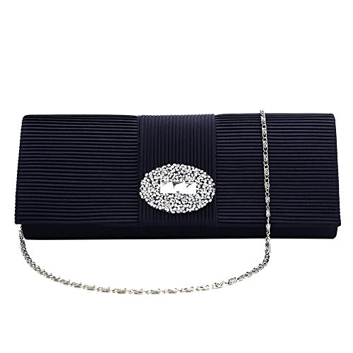 Evening Satin Pleated Stone Clutch Handbag Bags Purse Blue Designer Formal for Women Evening Ladies' 1PxHE