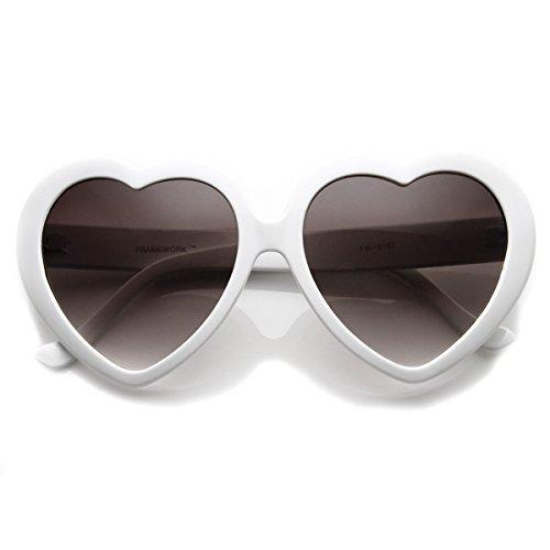 Large Oversized Womens Heart Shaped Sunglasses Cute Love Fashion Eyewear (White Smoke)