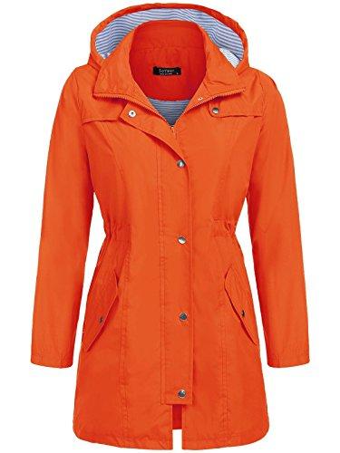 Soteer Women's Hooded Long Sleeve Zip up Rainproof Windproof Jacket Raincoat (Orange, (Orange Raincoat)
