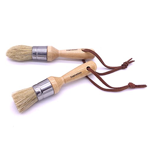 Chalk and Wax Brush Set – 2 Pcs | With Real Wooden Ergonomic Handle | Designed for Painting and Waxing | Ultra-Soft Boar Hair Bristle | Easy to Clean | Best for DIY and Decoration | Creative Omni by Creative Omni