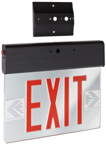Morris Products LED Exit Sign – Surface Mount Edge – Red on Clear Panel, Black Housing – Compact, Low-Profile Design – Single Side Legend – Energy Efficient, High Output – 1 Count by Morris Products (Image #1)