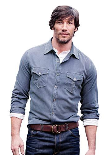 Ryan Michael - Textured Stripe Contrast Thread RM Star Snaps Western Style Shirt
