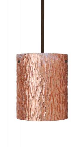 Besa Lighting 1TT-4006CS-LED-BR 1X6W Gu24 Led Tamburo 8 Led Pendant with Stone Copper Foil Glass, Bronze Finish