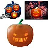 CHUWUJU Halloween Pumpkin Projection Lamp,USB Flash Talking Animated LED Pumpkin Projection Lamp with Songs Jokes Built-in Projector Speaker,for Home Party