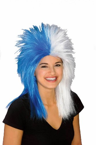 (Rubie's Blue and White Sports Fan Wig, Blue/White, One Size)