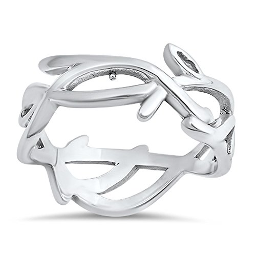 Cute Criss Cross Eternity Vine Script Ring .925 Sterling Silver Band Size (Sterling Vine)