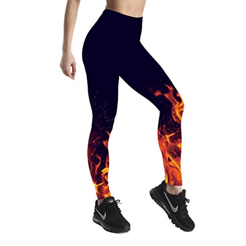 Lesubuy Mid-Waist Flame Galaxy Starry Night Sky Print Women's Sport Ankle-Length Leggings Medium Black