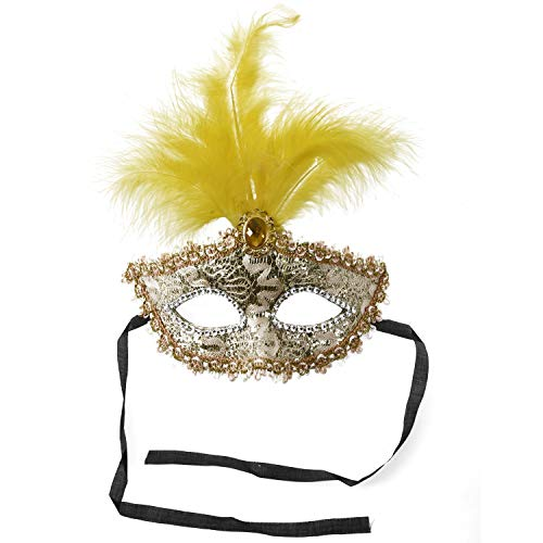 (Party Masks - Mask With Feathers Venetian Style White Gold X Carnival Party - Bulk Set Adults Photo Props Kids Holloween Gold Men)