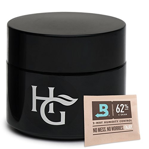 Herb Guard - Quarter Oz Airtight Container & Smell Proof Stash Jar (100ml) Bonus Humidity Pack Keeps Goods Fresh for Months