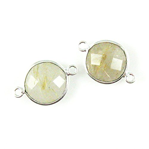 Bezel Gemstone Connector - Sterling Silver - 12mm Faceted Coin Shape Charm - Gold Rutilated Quartz (Sold Per 2 Pieces)
