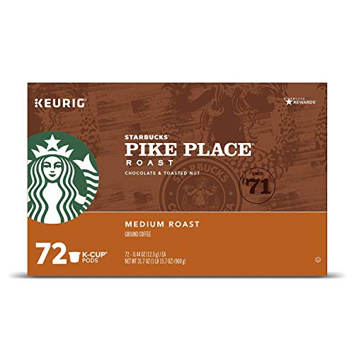 Starbucks Pike Place single serve capsules for Keurig K-Cup pod brewers, 72 Count